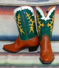 Womens Vintage Brown / Green / Yellow Inlay PeeWee Cowboy Boots 5 C Exc Cond