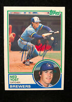 NED YOST 1983 TOPPS AUTOGRAPHED SIGNED AUTO BASEBALL CARD 297 BREWERS