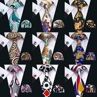 New Classic Blue Pink Yellow Black Printing Mens Hi Ties  Silk Necktie Set F&S