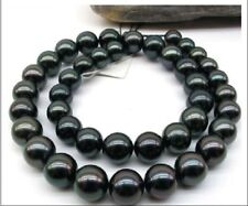"""HUGE 18""""12-13MM NATURAL SOUTH SEA GENUINE  BLACK PERFECT ROUND PEARL NECKLACE"""