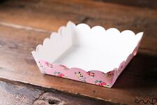 10 x Pink Floral Paper Party Tray Food Grade Shabby Chic Food Snack Serving 993