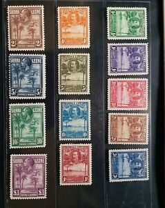 SIERRA LEONE 1932 KG V 1/2d to £1 SG 155 - 167 Sc 140 - 152 Palm set 13 MLH