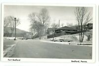 RPPC Fort Ft Bedford BEDFORD PA Old Cars 1950s County Real Photo Postcard