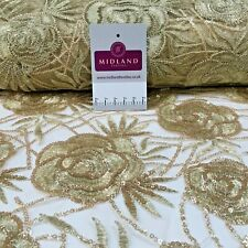 Antique Gold Tulle Net Embroidered Wedding Dress Fabric M1378 Mtex