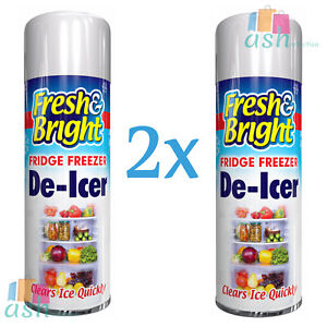 2x 200ml Fresh & Bright Fridge Freezer Spray Defrost Ice Quickly Anti Bacterial