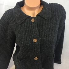 Woolrich 100% Wool Sweater Womens Small Cardigan Big Wood Button Up Black
