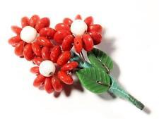 beaded Flower bouquet leaf pin brooch Vintage Czech Art Glass red rondelle