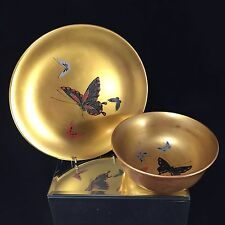 Lot#3 Vintage Japanese Gold Lacquer Set Butterflies Plate & Bowl