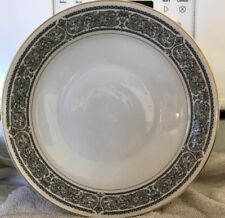 Mikasa BRINDISI 5854 Round Vegetable Bowl 9 in. Black Scrolls White Gold Trim