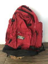 LL Bean Continental Rucksack Backpack Red Nylon Hiking Vintage Coated Bag E2