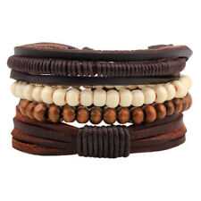 4pcs Black Leather Tribal Beaded Cuff Wristband Bangle Bracelet for Men Women