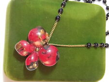 Vintage Wired Black Glass Bead Necklace Red Gold Foiled Butterfly Pendant 6a 6