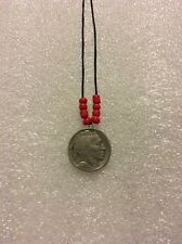 Buffalo Nickel Native American Style Necklace/red