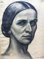 Emmy Wohlwill-Thomae 1883-1961 Portrait Frau Zeichnung Hamburg Nachlass 42 x 31