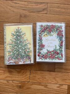 Carol's Rose Garden Wilson Fine Arts Christmas -Tree Bows Berries Embossed Cards