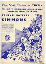 Tintin publicité matelas Simmons  Hergé 1950 TTBE