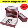 2/5/6/10/12 Slots Watch Box Display Case Wooden Jewelry Holder Storage Organizer