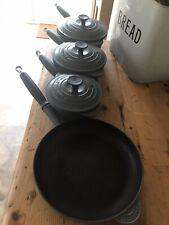4 Le Creuset Saucepans Pots Pans 16 18 20 cm Grey Cast Iron Frying Pan 27 cm