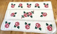 Vtg Rose Cross Stitch Crochet Shabby French Cottage Afgan Throw Lap Blanket