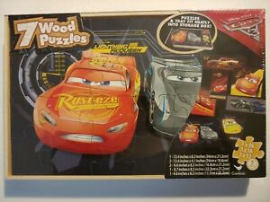 Lightning McQueen Cars 7 Wood Puzzles In Wooden Storage Box