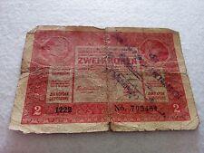 Austria 2 kronen stamp 1917 banknote P3