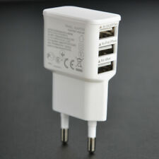 EU 3 Port USB Charger Plug Mobile Phone Wall Charger Adapter 2 Pin 5V-2A White