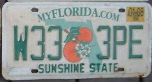 FLORIDA 2008  License Plate  -  Man Cave - Garage -  W 333 PE  Triple 3 s
