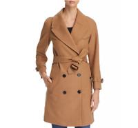 New Burberry Women Cranston Wool Blend Belted Trench Coat Camel Sz 12 NWT $1590