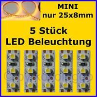 S506 - 5 Stück MINI LED Modellbeleuchtung 2,5cm GELB Beleuchtung Häuser Autos