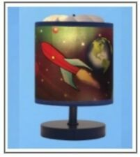 Outer space Magic spinning kids table lamp rotating image rocket spaceship stars