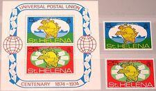 ST HELENA 1974 270-1 Block 1 283-84a Weltpostverein 100 Ann UPU Postal Union MNH