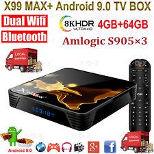 8K X99Max+ 4+64G Android 9.0 Dual Wifi Bt Tv Box Quad Core Amlogic Movies Games