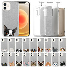 "For Apple iPhone 12 / 12 Pro 6.1"" 2020 Dog Cat Silver Glitter Tpu Cover Case"