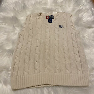 Chaps Boy's Size 6 Cable Knit Sweater Vest Blue Logo Cotton Beige Free Shipping