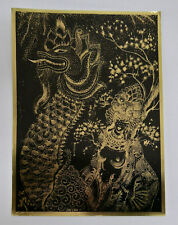 Sascha Brastoff Woman and Dragon Art Drawing Black and Gold