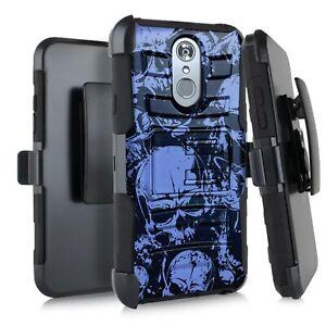 Holster Case For LG Stylo 5 / Stylo 5 Plus Hybrid Phone Cover - BLUE SKULL PILE