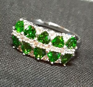 Art Deco Chrome Diopside And White Zircon  band ring in Sterling Silver Size 12