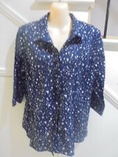 GIVONI LABEL SIZE 14 NAVY BLUE COTTON BLOUSE PINTUCKING FRILL FEATURE 'PERFECT'