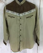 Western Mexican Charro El General Toggle Button Long Sleeve Tan Brown Shirt Med