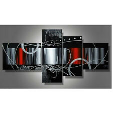 Canvas Oil Painting Abstract Pictures Wall Art Home Decor Red Black Cloud Framed