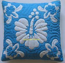 2 Hawaiian quilt handmade cushions hand quilted/appliqué pillow covers Aqua Blue
