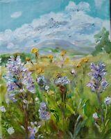 ORIGINAL SIGNED Impressionism Orchids, Buttercups,Penhill,Yorkshire Dales Canvas
