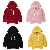 Kids Baby Girls Boys Sweatshirt Tops Plain Hooded Jumpers Hoodies Pullover Tops