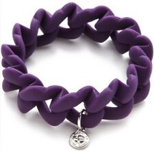 Marc By Marc Jacobs Rubber Stretch Turnlock Bracelet SilverTone Charm Purple New