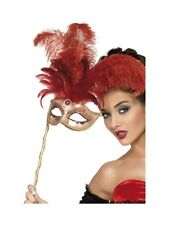 Red Opera Eye Mask On Stick Masked Ball 17th Century Ladies Fancy Dress