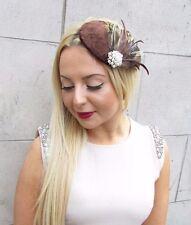 Brown Velvet Ivory Yellow Feather Fascinator Vtg Hair Clip Hat 1940s Races 2461