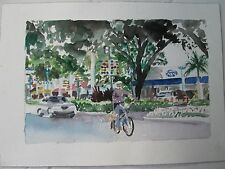 "Hollywood, FL Historic District / W/C Print / 10"" x 14""(image 11 1/2""x7 1/4"")"