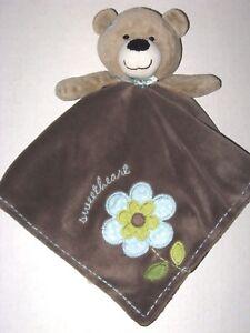 Carters Brown Bear Blue Flower Sweetheart Baby Security Blanket Rattle Lovey Toy