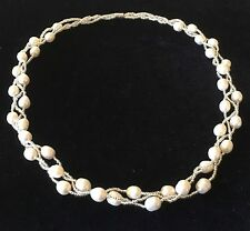 """18"""" White Freshwater Pearl & Bead Braided Necklace with Magnetic Clasp"""