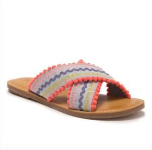 TOMS Viv Pompom Chambray Sandal Size 6B Slide Open toe multi color chambray shoe